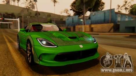 Dodge Viper SRT GTS 2013 IVF (HQ PJ) LQ Dirt para visión interna GTA San Andreas