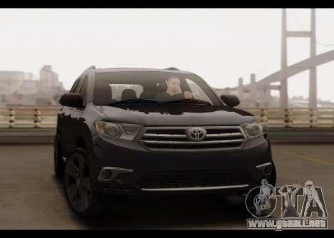 Toyota Highlander 2011 para vista lateral GTA San Andreas