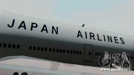 Boeing 747 JAL para GTA San Andreas vista hacia atrás