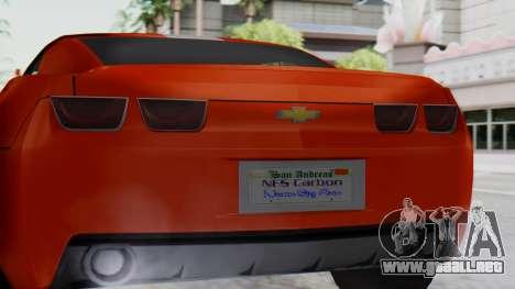 NFS Carbon Chevrolet Camaro IVF para la visión correcta GTA San Andreas