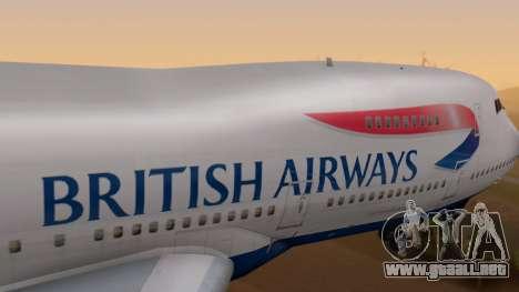 Boeing 747-200 British Airways para la visión correcta GTA San Andreas