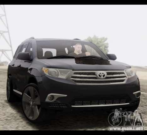 Toyota Highlander 2011 para GTA San Andreas vista hacia atrás