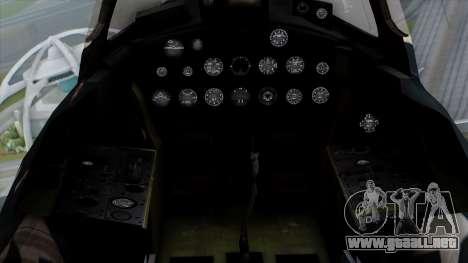 Grumman F9F-5 Phanter para GTA San Andreas vista hacia atrás