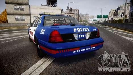 Ford Crown Victoria Alderney Police [ELS] para GTA 4 Vista posterior izquierda