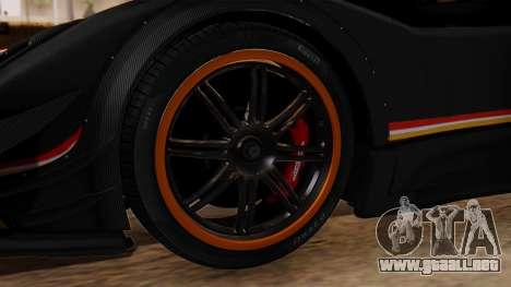 Pagani Zonda Revolucion 2015 para GTA San Andreas vista posterior izquierda