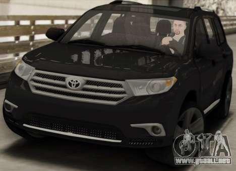 Toyota Highlander 2011 para visión interna GTA San Andreas