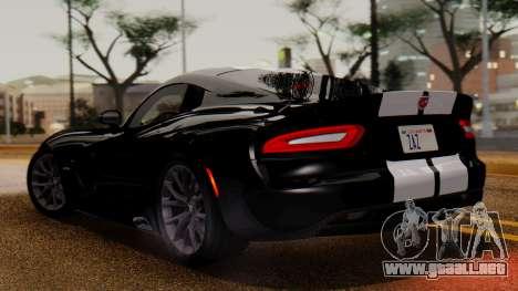 Dodge Viper SRT GTS 2013 IVF (MQ PJ) LQ Dirt para GTA San Andreas vista posterior izquierda