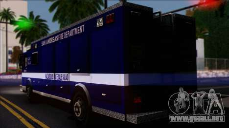 FDSA Hazardous Materials Squad Truck para GTA San Andreas left