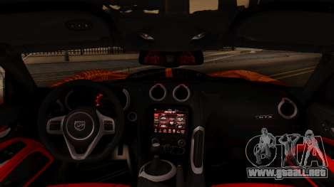 Dodge Viper SRT GTS 2013 IVF (HQ PJ) No Dirt para la visión correcta GTA San Andreas