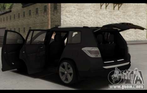 Toyota Highlander 2011 para vista inferior GTA San Andreas