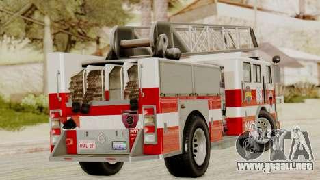 SAFD Fire Lader Truck para GTA San Andreas vista posterior izquierda