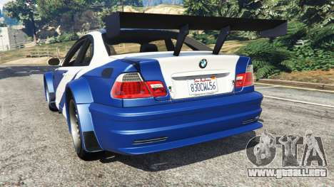 GTA 5 BMW M3 GTR E46 Most Wanted vista lateral izquierda trasera