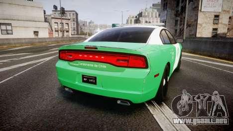 Dodge Charger Carabineros de Chile [ELS] para GTA 4 Vista posterior izquierda