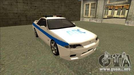 Nissan Skyline R32 Russian Police para GTA San Andreas vista hacia atrás