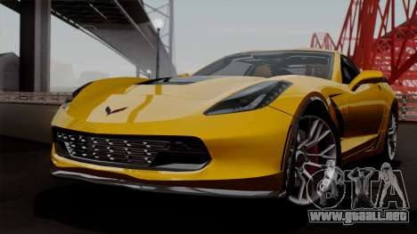 Chevrolet Corvette Z06 1.0.1 para vista lateral GTA San Andreas