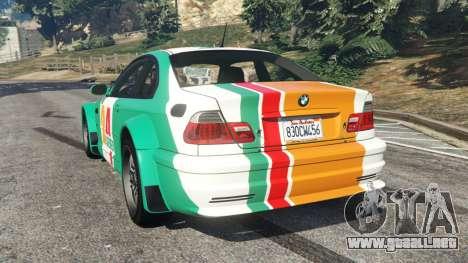 GTA 5 BMW M3 GTR E46 PJ3 vista lateral izquierda trasera