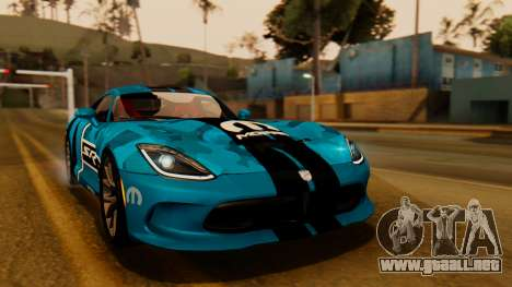 Dodge Viper SRT GTS 2013 IVF (HQ PJ) LQ Dirt para vista inferior GTA San Andreas