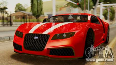 GTA 5 Adder Secondary Color Tire Dirt para GTA San Andreas vista posterior izquierda