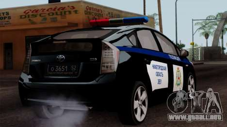 Toyota Prius ДПС para GTA San Andreas left