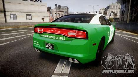 Dodge Charger Carabineros de Chile [ELS] v2.0 para GTA 4 Vista posterior izquierda