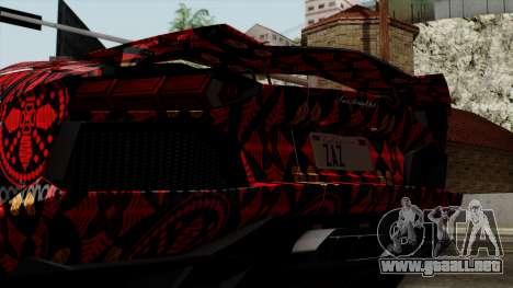 Lamborghini Aventador LP-700 Batik para visión interna GTA San Andreas