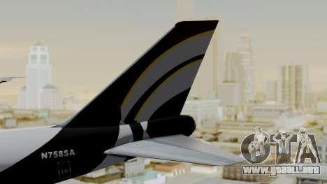 Boeing 747 Southern Air para GTA San Andreas vista posterior izquierda