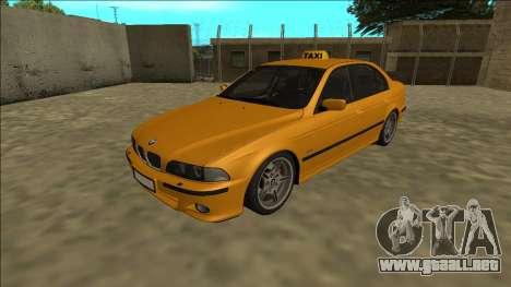 1999 BMW 530d E39 Taxi para GTA San Andreas vista posterior izquierda