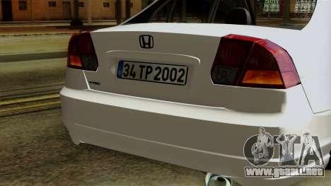 Honda Civic 2005 para visión interna GTA San Andreas