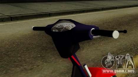 Gilera Smash para GTA San Andreas vista hacia atrás