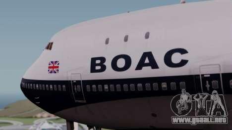 Boeing 747-100 British Overseas Airways para GTA San Andreas vista hacia atrás