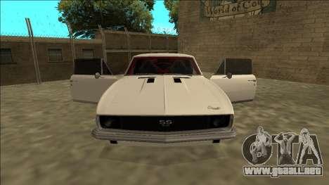 Chevrolet Camaro SS Drift para visión interna GTA San Andreas