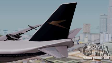 Boeing 747-100 British Overseas Airways para GTA San Andreas vista posterior izquierda