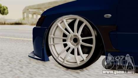 Mitsubishi Lancer Evolution v2 para GTA San Andreas vista posterior izquierda