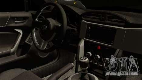 Subaru BRZ 2010 Rocket Bunny v1 para la visión correcta GTA San Andreas