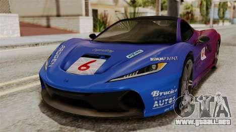 GTA 5 Progen T20 SA Style para GTA San Andreas vista hacia atrás