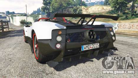 GTA 5 Pagani Zonda Cinque Roadster vista lateral izquierda trasera