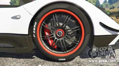 GTA 5 Pagani Zonda Cinque Roadster vista lateral trasera derecha