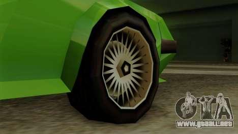 Deluxo from Vice City Stories para GTA San Andreas vista posterior izquierda