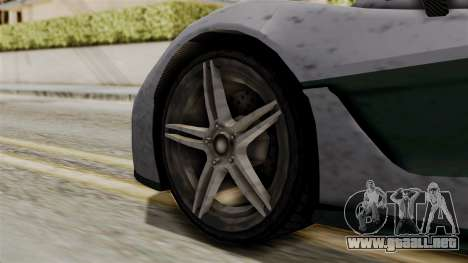 GTA 5 Progen T20 SA Style para GTA San Andreas vista posterior izquierda