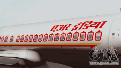 Airbus A320-200 Air India para GTA San Andreas vista hacia atrás