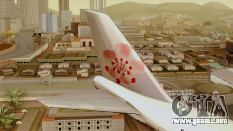 Boeing 747-200 China Airline para GTA San Andreas vista posterior izquierda