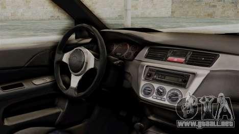 Mitsubishi Lancer Evolution v2 para la visión correcta GTA San Andreas