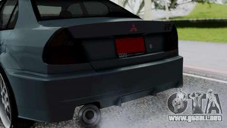 Mitsubishi Lancer Evolution Turbo para GTA San Andreas vista hacia atrás