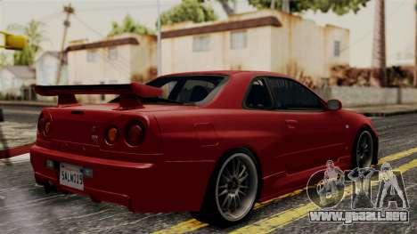 Nissan Skyline GT-R R34 2012 para GTA San Andreas vista posterior izquierda