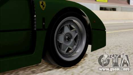 Ferrari F40 1987 with Up without Bonnet IVF para GTA San Andreas vista posterior izquierda