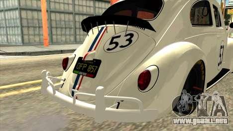Volkswagen Beetle Herbie Fully Loaded para GTA San Andreas vista hacia atrás