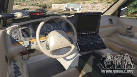 GTA 5 Ford Crown Victoria 1999 Police v1.0 vista lateral trasera derecha