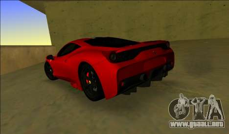 Ferrari 458 Especial para GTA Vice City vista lateral izquierdo