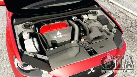 GTA 5 Mitsubishi Lancer Evolution X vista lateral trasera derecha