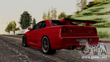 Nissan Skyline GT-R R34 2012 para GTA San Andreas left